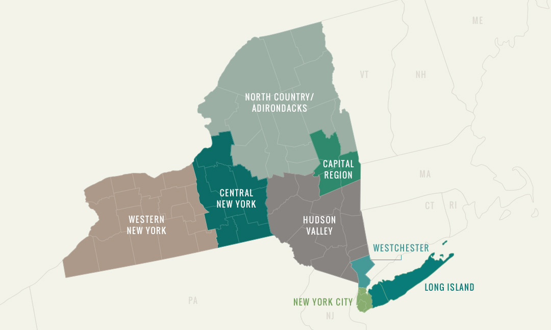 Western New York State Map.Regions New York League Of Conservation Voters