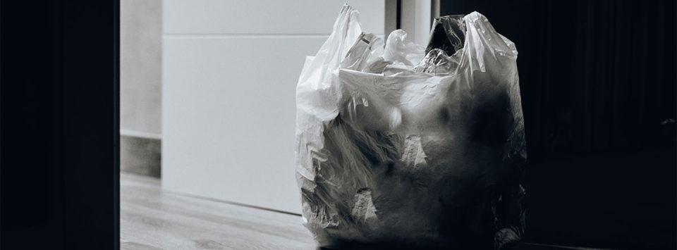 Plastic bag near door